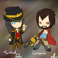League of Legends: Twisted Fate + Graves Chibi by TheMuteMagician