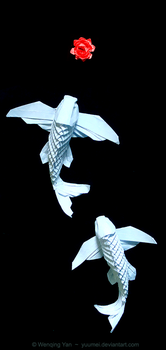 Origami Winged Koi by yuumei