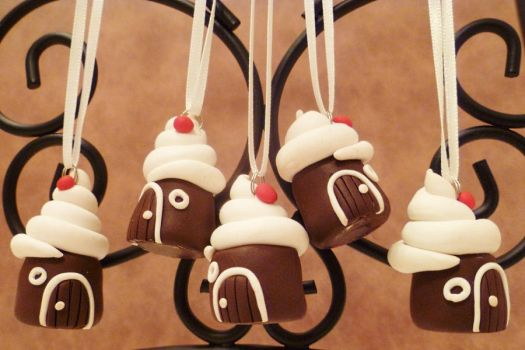 Miniature Chocolate Fairy House Ornament set by FlyingFrogCreations