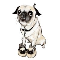 pug in slippers by burntfeather