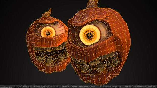 Pumpkin Monster (Color Wireframe) by Aboulicious