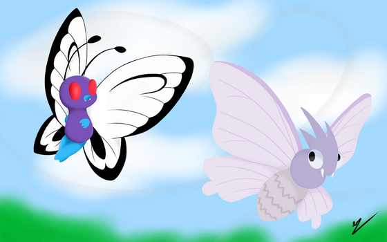 Butterfree and Venamoth by OtakuTheUnicorn