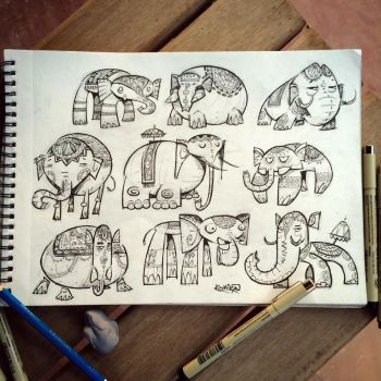 10th SketchBomb NewDelhi - Elephants by kshiraj