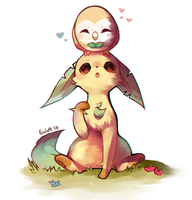 Rowlet and Leafeon