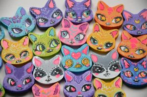 Pastel Rainbow Kitty Head Charms by marywinkler