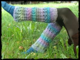 Hand Knit wool leg warmers, Multicolor Rainbow by noisypixie