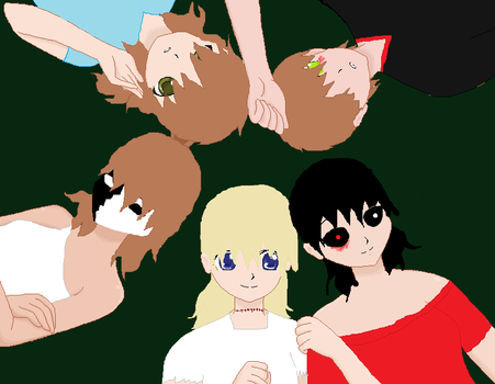some of my Creepypasta ocs hangin' out by BENSultimatefangirl