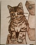 Woodburning - Cat and Troll Face by Stepher17