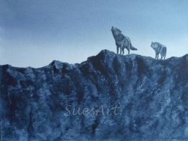 Mountain Top Wolves by SueMArt