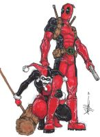 Deadpool and harley 3 color by ChrisOzFulton