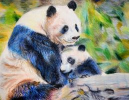 Mother Panda and cub by NatPratt