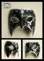 Silver and Black Venetian Style Mardi Gras Mask by nondecaf