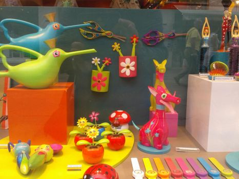 Colourful window display by joelshine-stock