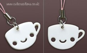 White Coffee Cup Phone Strap by ThePeasyLifeCo
