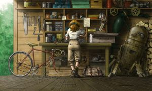 Lilian in the Workshop by JNathanIllustration