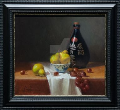 Still Life with Sake and Fruit, by O. Gail Poole by RogueOkie