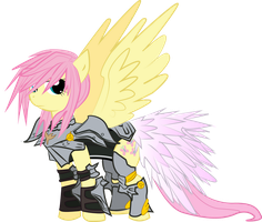 Fluttershy, Protector of Celestia by halotheme
