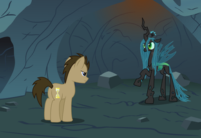 Doctor Whooves{facing Chrysalis} by Peora