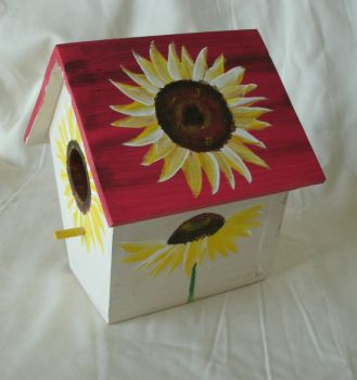 Wood Birdhouse with painted Sunflowers by sweetpie2