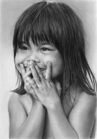Pencil portrait of Nhu with a hidden smile by LateStarter63