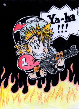 Hiruma burns in Hell by Egory