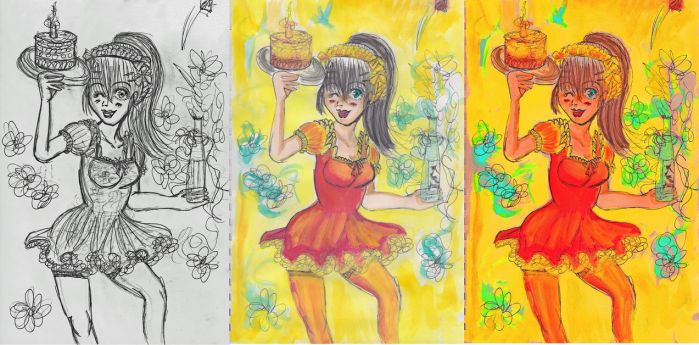 From Black and White to a Colourfull drawing by Pek-men