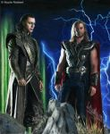 Thor and Loki (colour pencils) by Quelchii
