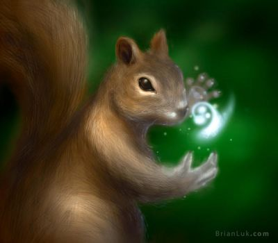 Magic Card Squirrel Token by BrianLukArt