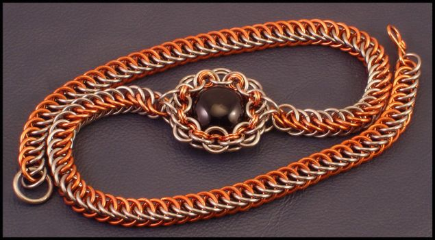 Titanium and Copper Choker by WaistedSpace