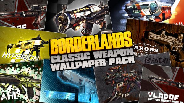 Borderlands Classic Weapon Wallpaper Pack by mentalmars