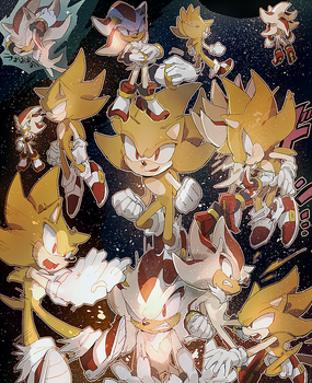 Super Sonic and Super Shadow by aoki6311