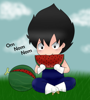 Vegeta with a watermelon by leeniej