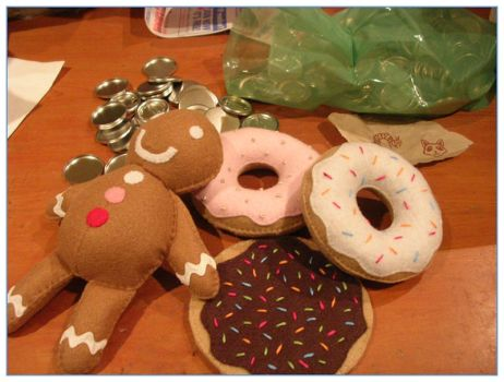 Felt donuts + gingerbread man by restlesswillow