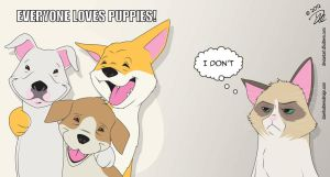 Grumpy Cat Disapproves of Happy Puppies by dhulteen