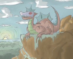 Cliff side dragon by ChestnutFeraligatr