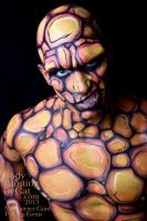The Thing bodypainted fantastic 4 snarl face paint by Bodypaintingbycatdot