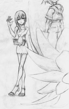 Namine Trying to Draw Portrait of Sora by d-AspiringAmeture-b