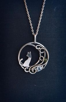 Moon cat necklace by UrsulaJewelry