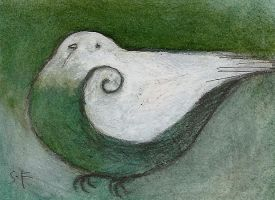 Green Bird Hovering ACEO by SethFitts