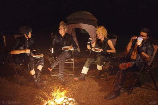 Final Fantasy XV: Camping Chocobros by behindinfinity