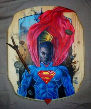 3-D Superman on Wood by Sketch252