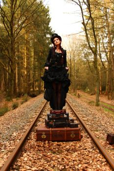 Stock - Steampunk suitcases  music box skirt up by S-T-A-R-gazer