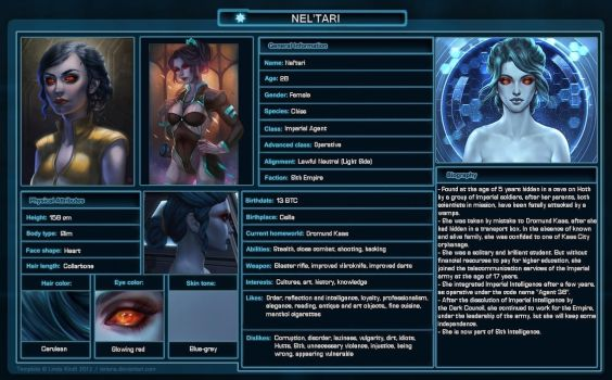 SWTOR Character Sheet - Nel'tari by Oreliane