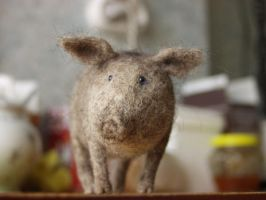 pig, needle-felted 2 by vriad-lee