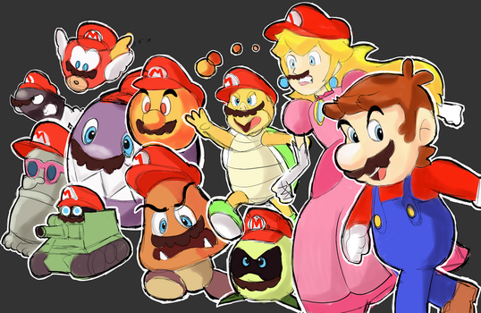 Super Mario Odyssey - Moustaches and red hats! by AlSanya