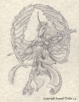 Winged Unicorn Priestess by RussellTuller