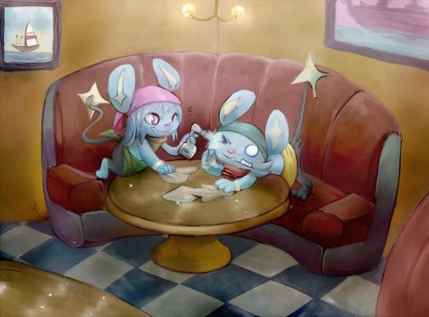 Corin and Hex in the cafe -giftart- by Silver-Atlas
