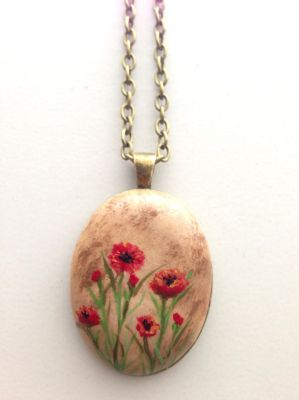 Hand painted poppy pendant by ArtfulParadox
