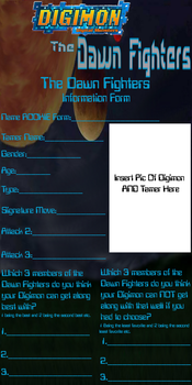 The Dawn Fighters Information Form by Destiny-The-Hedgimon